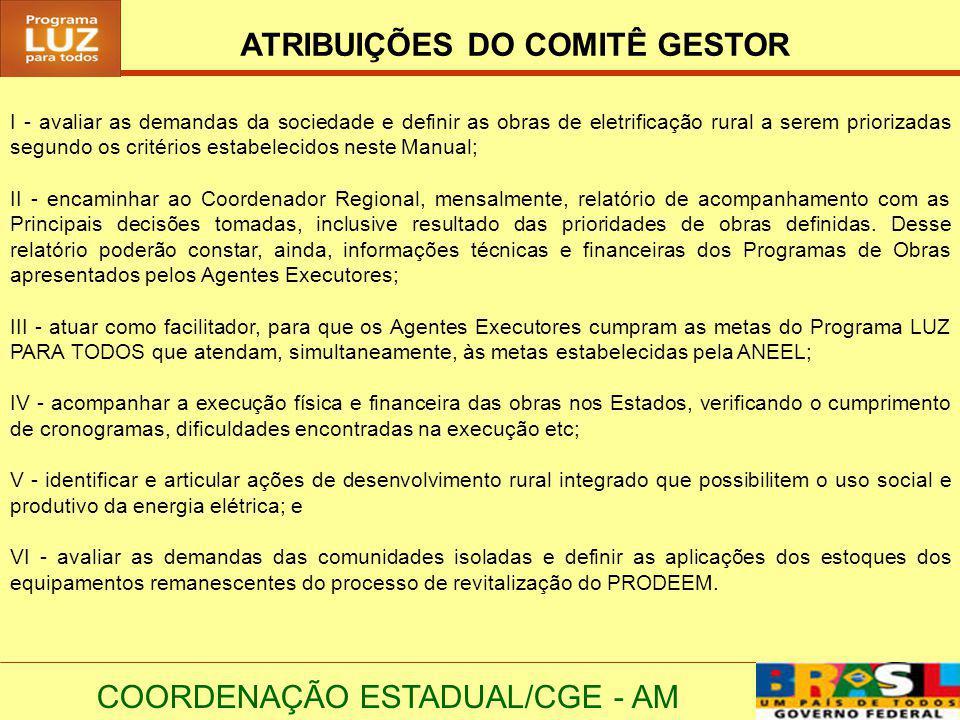 ATRIBUIÇÕES DO COMITÊ GESTOR