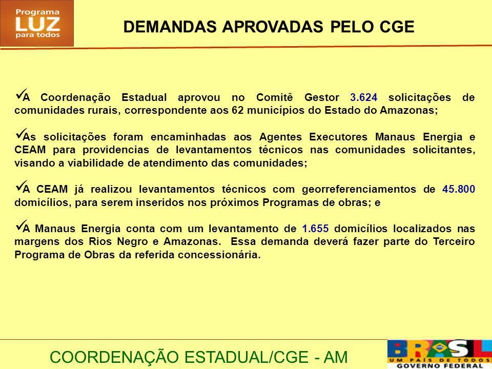 DEMANDAS APROVADAS PELO CGE
