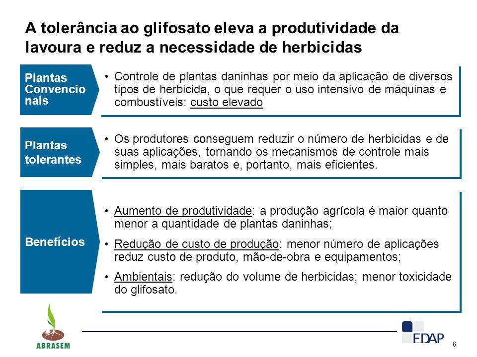A tolerância ao glifosato eleva a produtividade da lavoura e reduz a necessidade de herbicidas