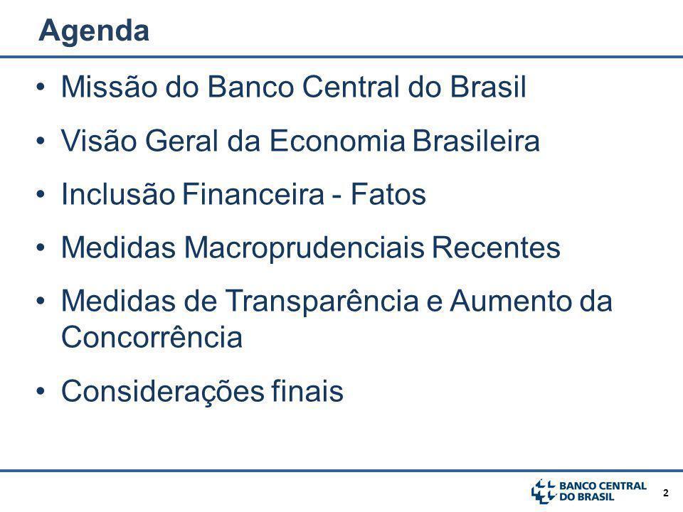 Agenda Missão do Banco Central do Brasil. Visão Geral da Economia Brasileira. Inclusão Financeira - Fatos.