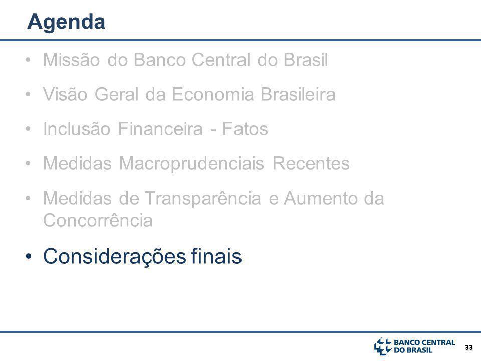 Agenda Considerações finais Missão do Banco Central do Brasil