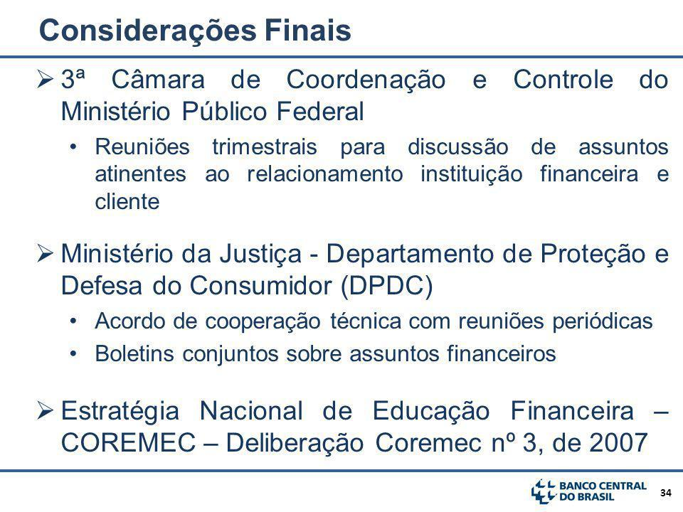 Considerações Finais 3ª Câmara de Coordenação e Controle do Ministério Público Federal.
