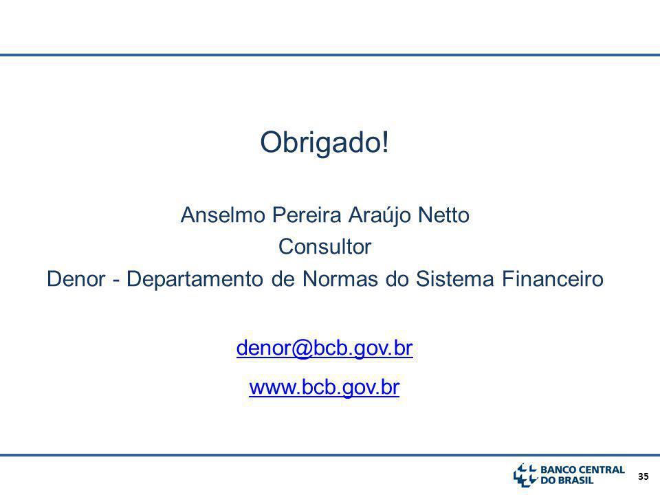 Obrigado! Anselmo Pereira Araújo Netto Consultor