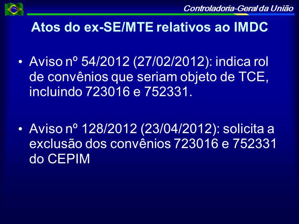 Atos do ex-SE/MTE relativos ao IMDC
