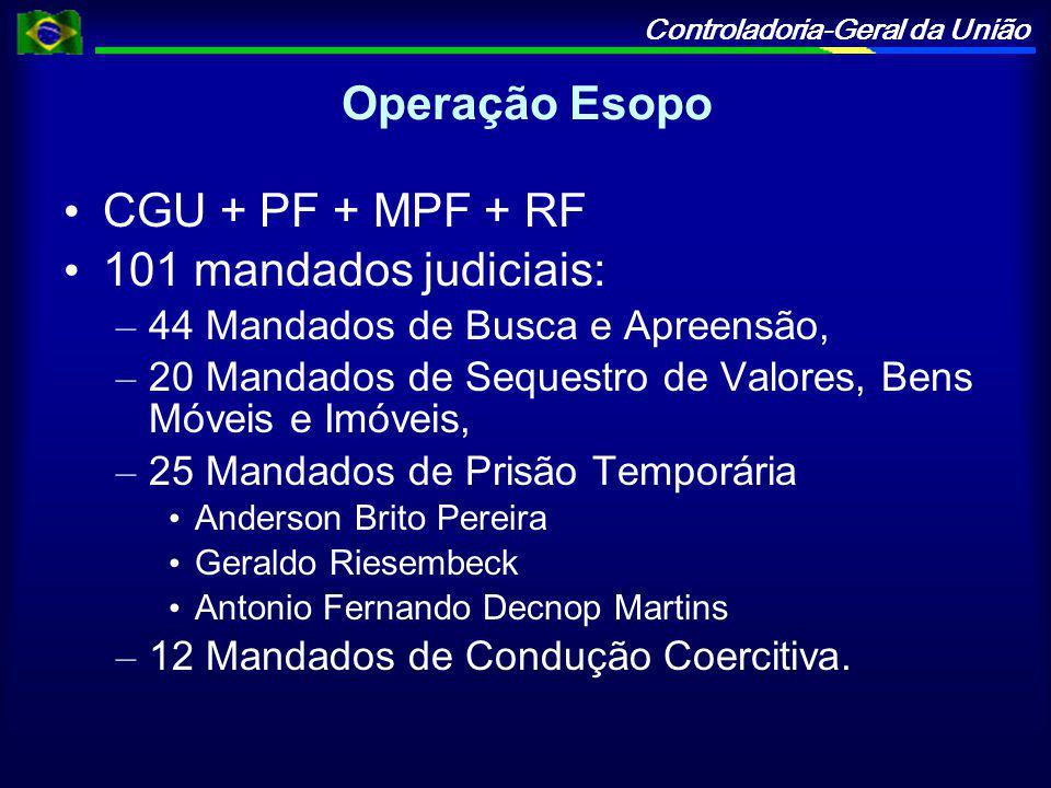 Operação Esopo CGU + PF + MPF + RF 101 mandados judiciais: