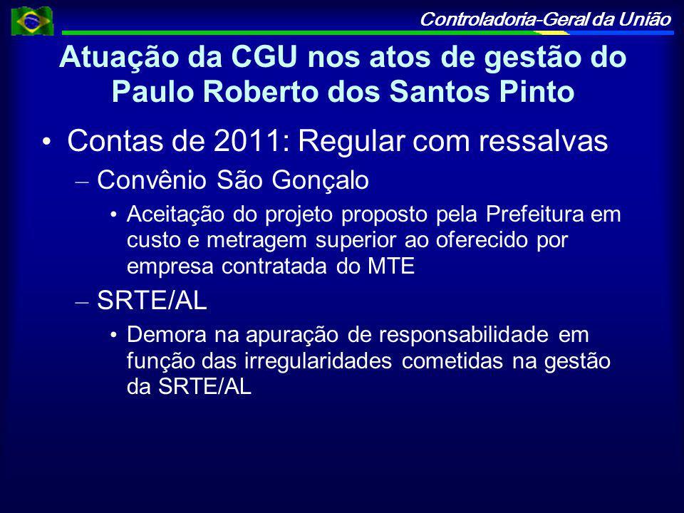 Atuação da CGU nos atos de gestão do Paulo Roberto dos Santos Pinto