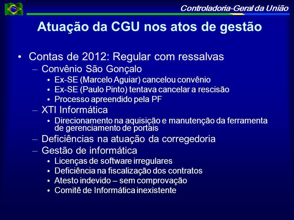 Atuação da CGU nos atos de gestão