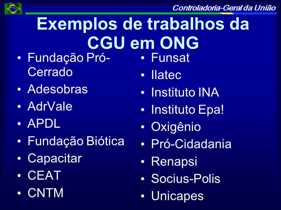 Exemplos de trabalhos da CGU em ONG