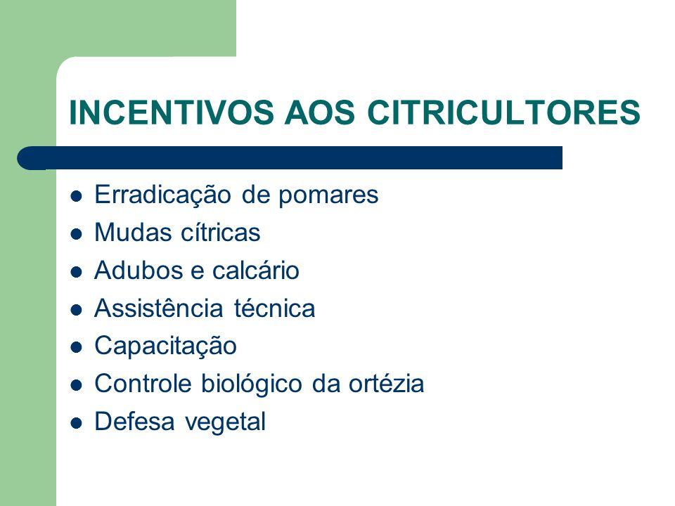 INCENTIVOS AOS CITRICULTORES