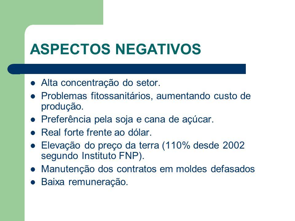 ASPECTOS NEGATIVOS Alta concentração do setor.