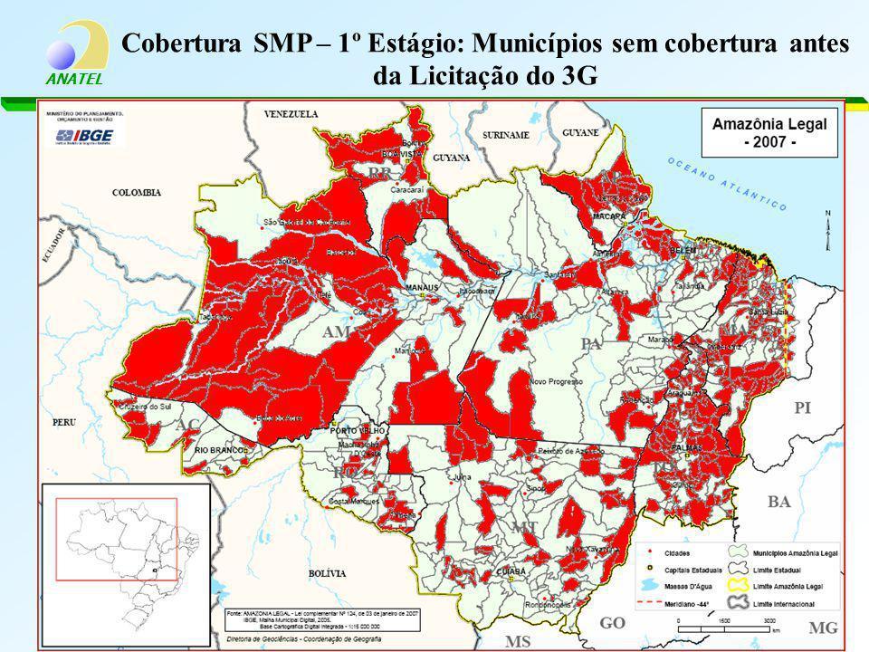 Cobertura SMP – 1º Estágio: Municípios sem cobertura antes da Licitação do 3G