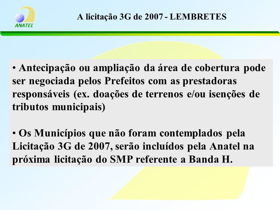A licitação 3G de 2007 - LEMBRETES