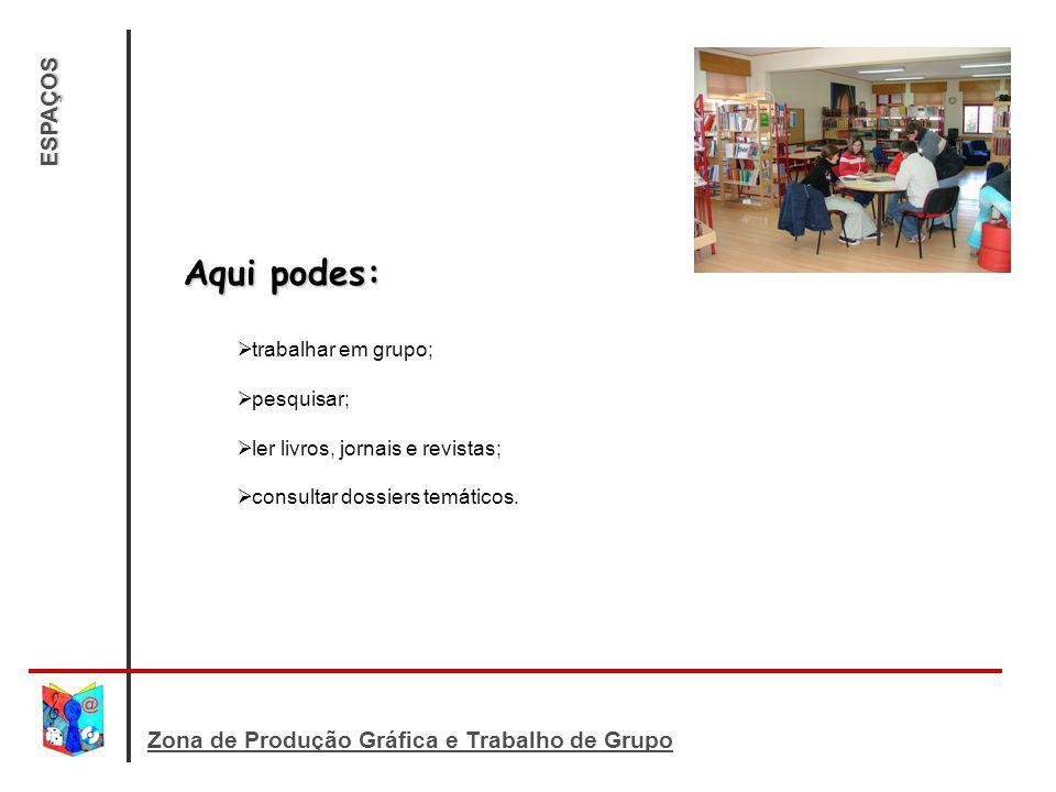 Aqui podes: ESPAÇOS Zona de Produção Gráfica e Trabalho de Grupo