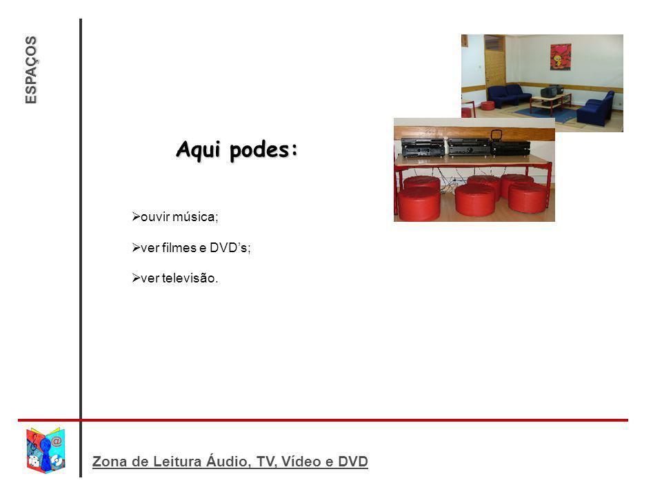 Aqui podes: ESPAÇOS Zona de Leitura Áudio, TV, Vídeo e DVD