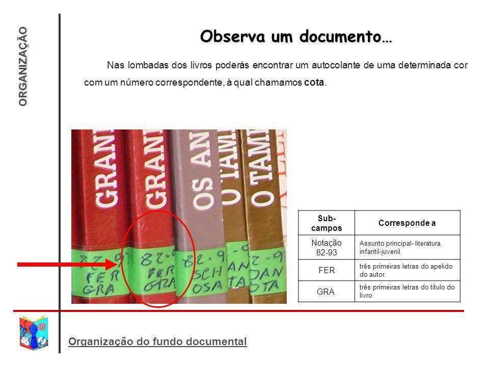 Observa um documento… ORGANIZAÇÃO Organização do fundo documental