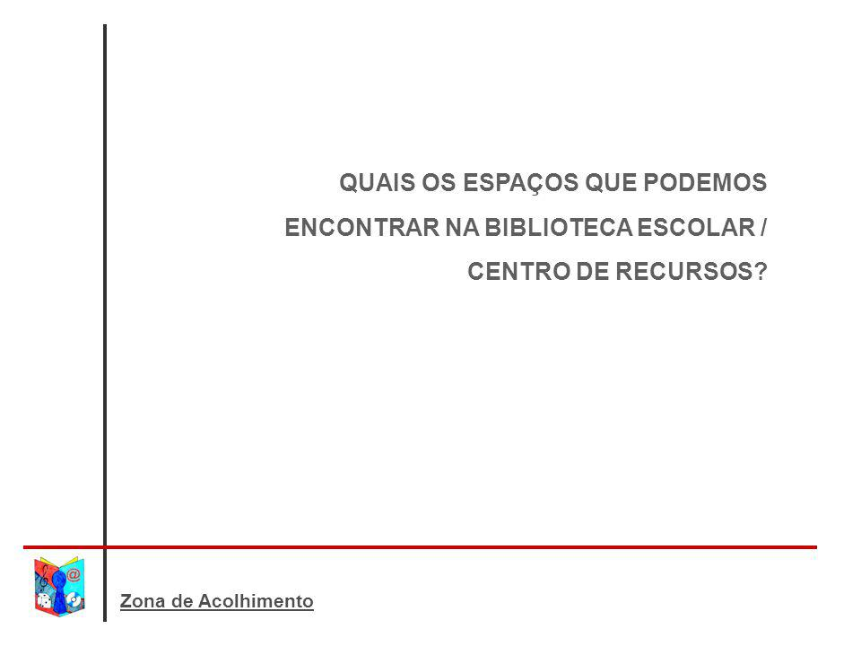 QUAIS OS ESPAÇOS QUE PODEMOS ENCONTRAR NA BIBLIOTECA ESCOLAR / CENTRO DE RECURSOS