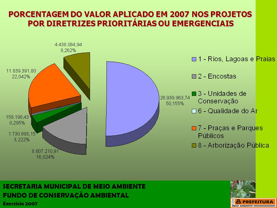 PORCENTAGEM DO VALOR APLICADO EM 2007 NOS PROJETOS