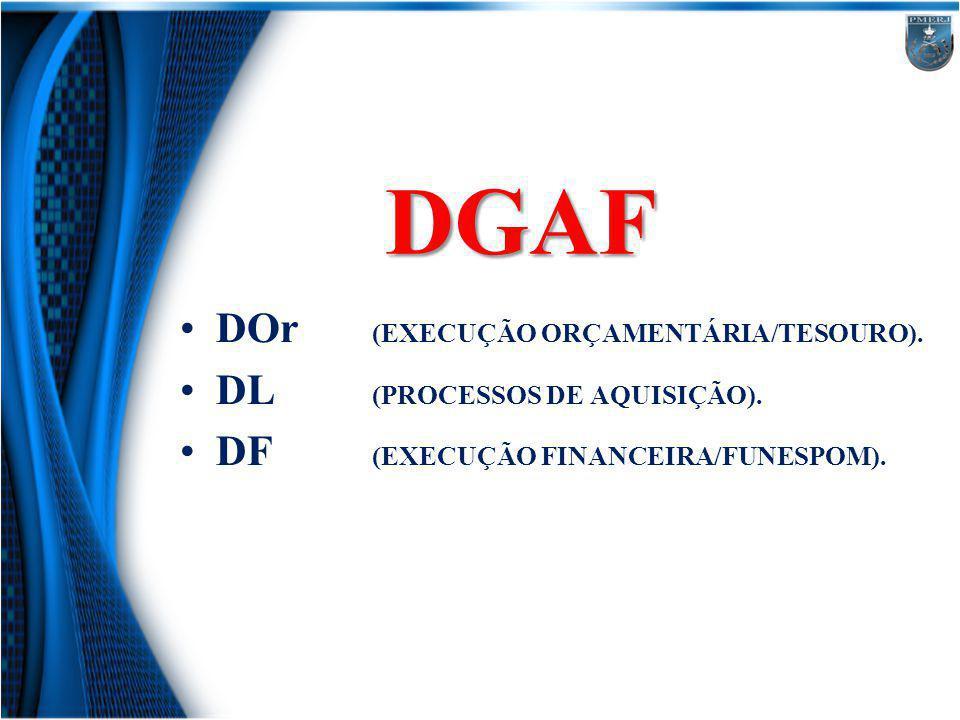 DGAF DOr (EXECUÇÃO ORÇAMENTÁRIA/TESOURO). DL (PROCESSOS DE AQUISIÇÃO).