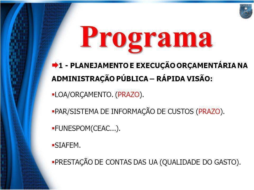 Programa 1 - PLANEJAMENTO E EXECUÇÃO ORÇAMENTÁRIA NA ADMINISTRAÇÃO PÚBLICA – RÁPIDA VISÃO: LOA/ORÇAMENTO. (PRAZO).