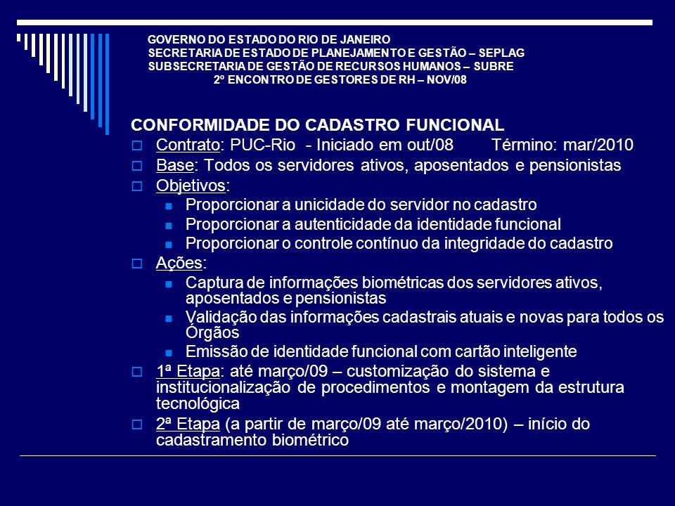 CONFORMIDADE DO CADASTRO FUNCIONAL