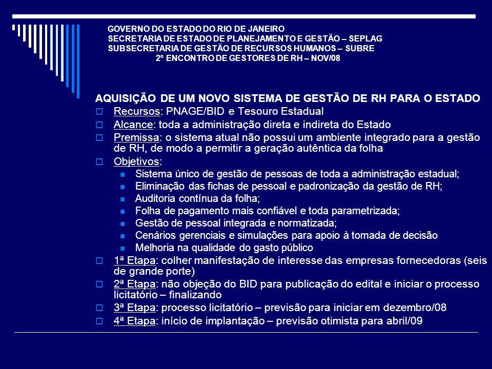 AQUISIÇÃO DE UM NOVO SISTEMA DE GESTÃO DE RH PARA O ESTADO