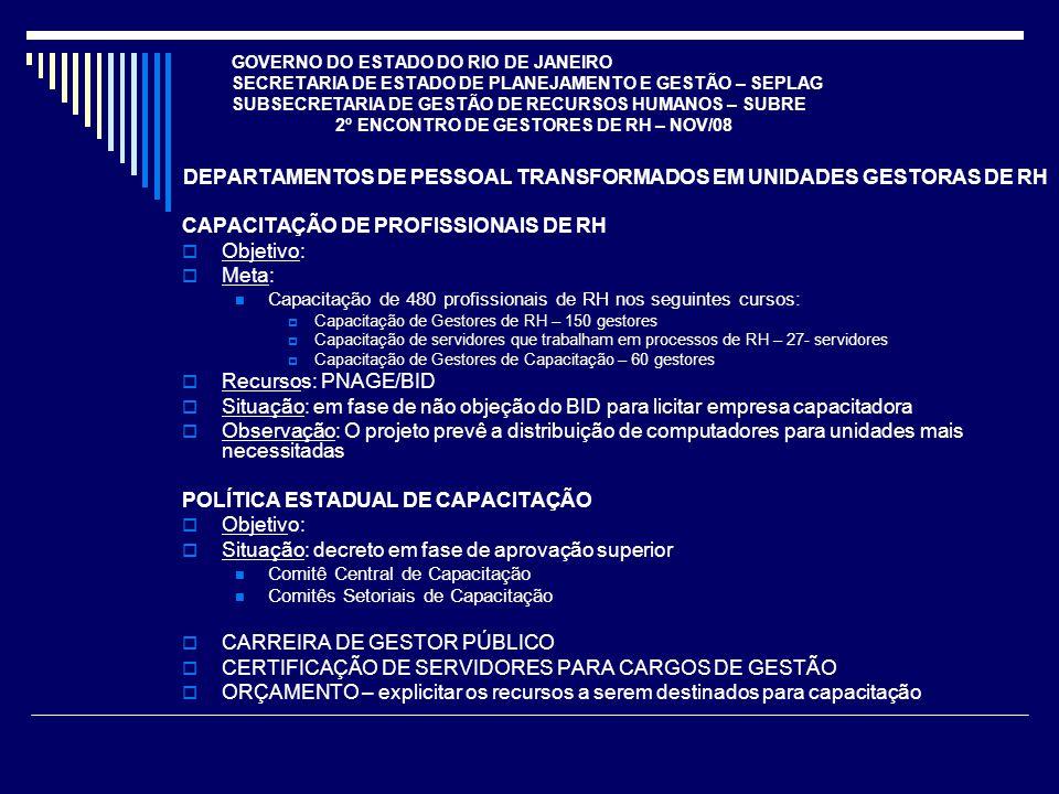 DEPARTAMENTOS DE PESSOAL TRANSFORMADOS EM UNIDADES GESTORAS DE RH