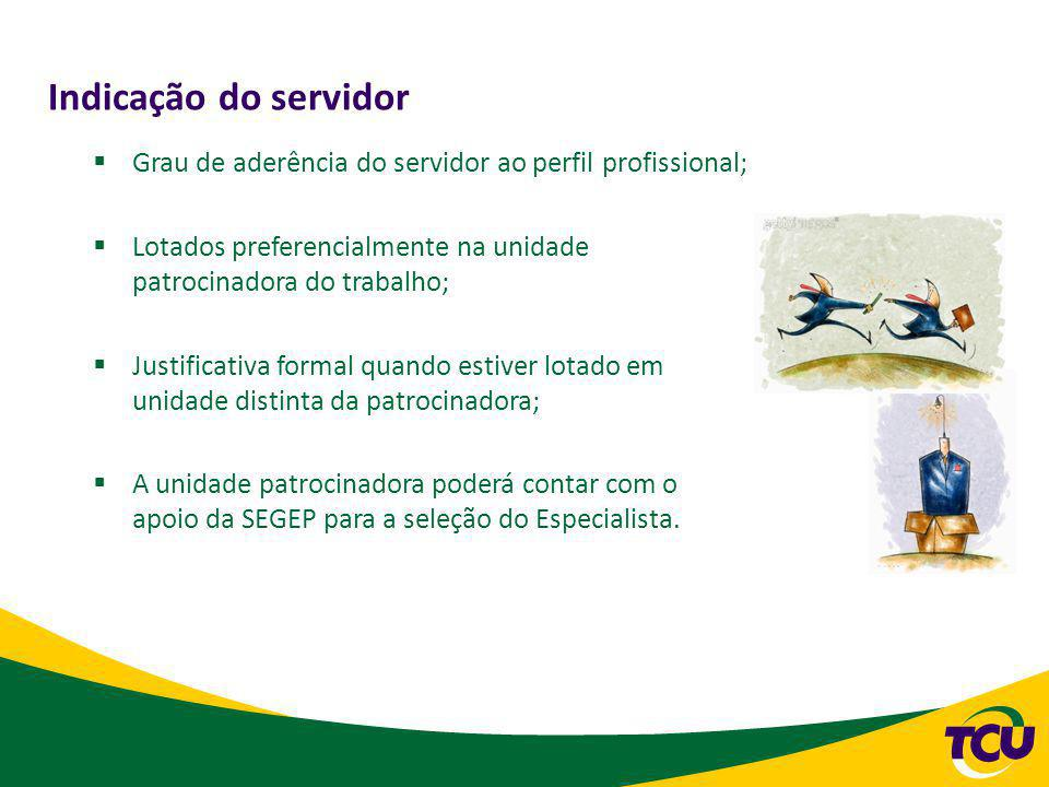 Indicação do servidor Grau de aderência do servidor ao perfil profissional; Lotados preferencialmente na unidade patrocinadora do trabalho;