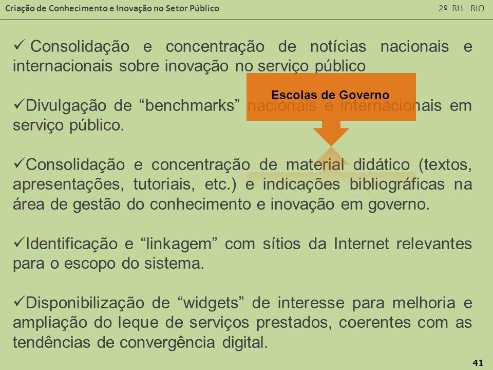 Consolidação e concentração de notícias nacionais e internacionais sobre inovação no serviço público