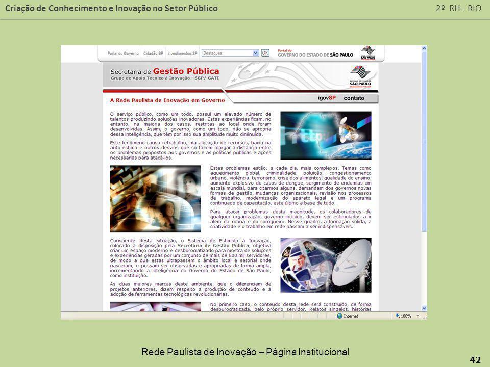 Rede Paulista de Inovação – Página Institucional