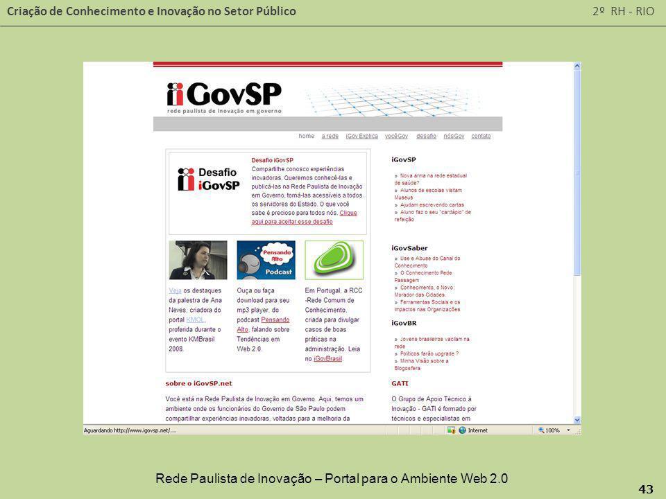 Rede Paulista de Inovação – Portal para o Ambiente Web 2.0