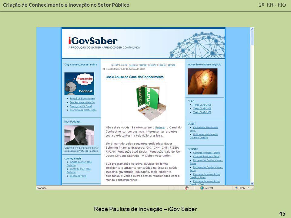 Rede Paulista de Inovação – iGov Saber