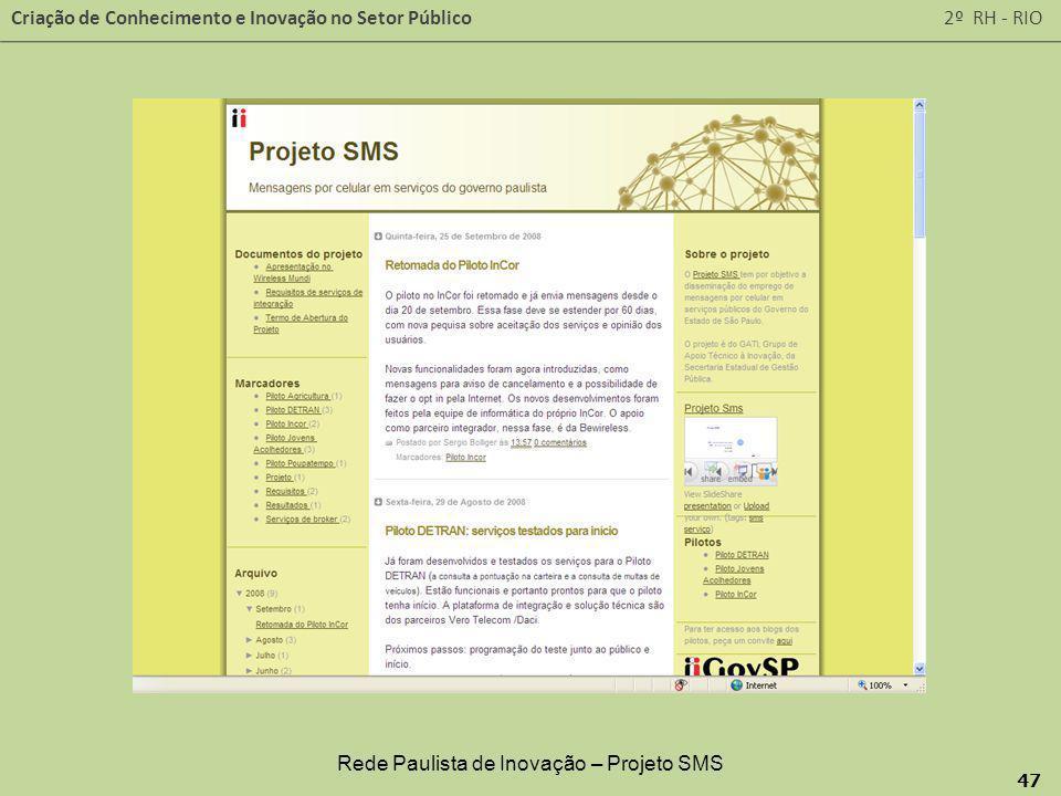 Rede Paulista de Inovação – Projeto SMS