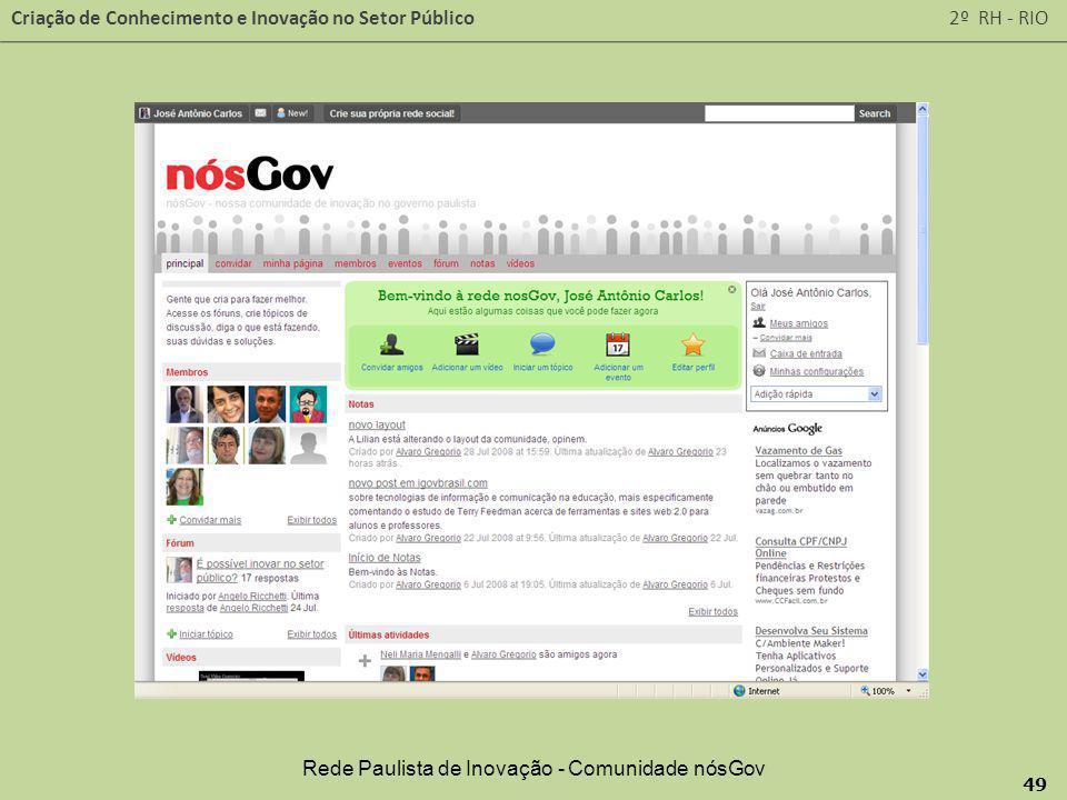 Rede Paulista de Inovação - Comunidade nósGov