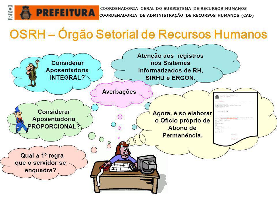 OSRH – Órgão Setorial de Recursos Humanos