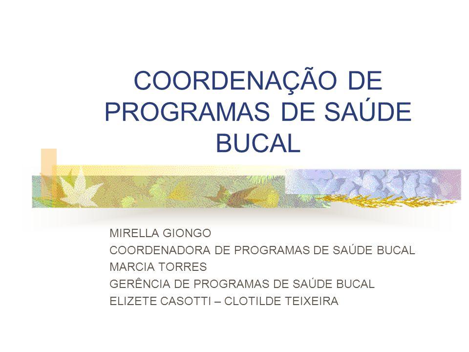 COORDENAÇÃO DE PROGRAMAS DE SAÚDE BUCAL