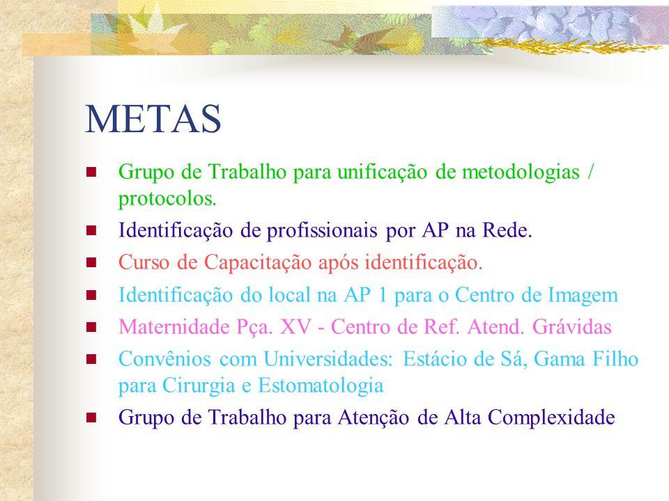 METAS Grupo de Trabalho para unificação de metodologias / protocolos.
