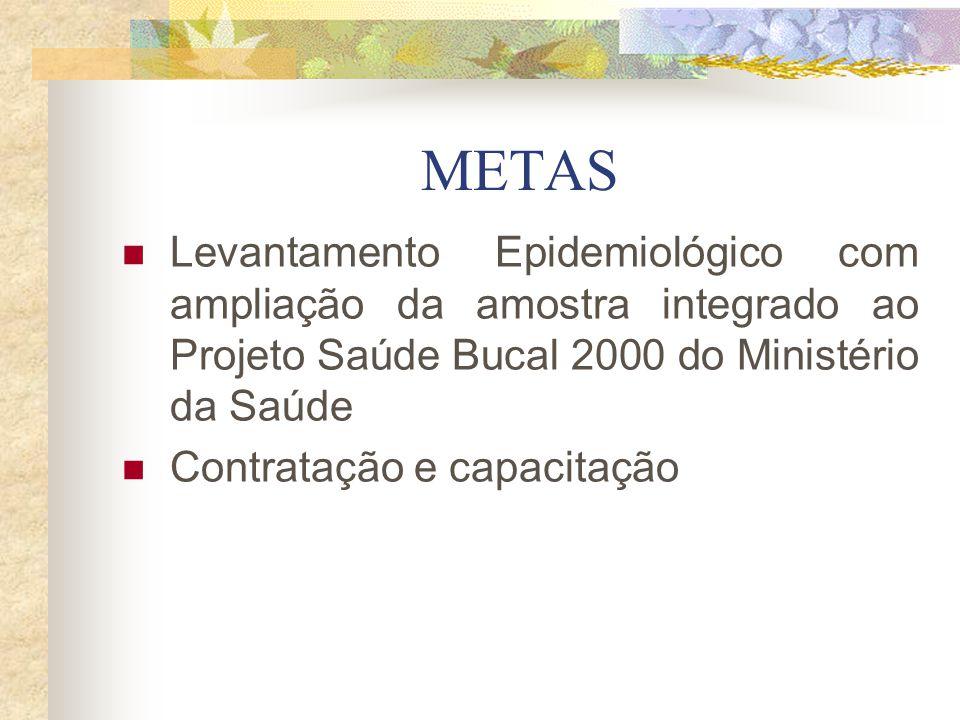 METAS Levantamento Epidemiológico com ampliação da amostra integrado ao Projeto Saúde Bucal 2000 do Ministério da Saúde.