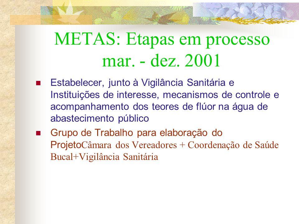 METAS: Etapas em processo mar. - dez. 2001