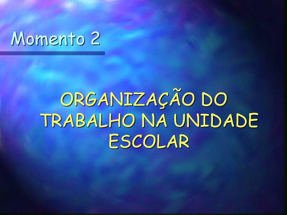 ORGANIZAÇÃO DO TRABALHO NA UNIDADE ESCOLAR