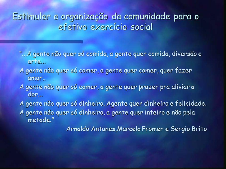 Estimular a organização da comunidade para o efetivo exercício social
