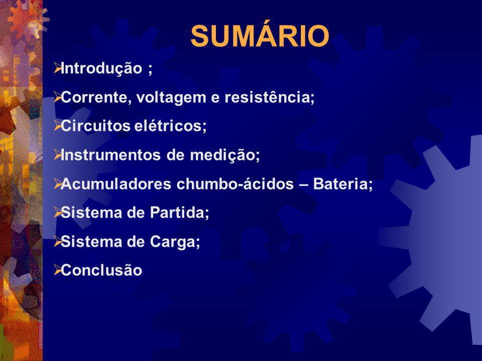 SUMÁRIO Introdução ; Corrente, voltagem e resistência;
