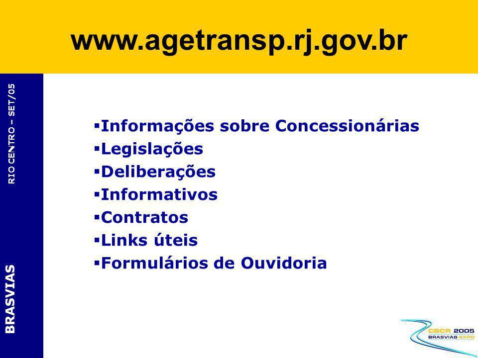 www.agetransp.rj.gov.br Informações sobre Concessionárias Legislações
