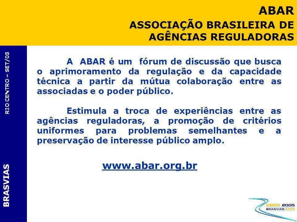 ABAR ASSOCIAÇÃO BRASILEIRA DE AGÊNCIAS REGULADORAS