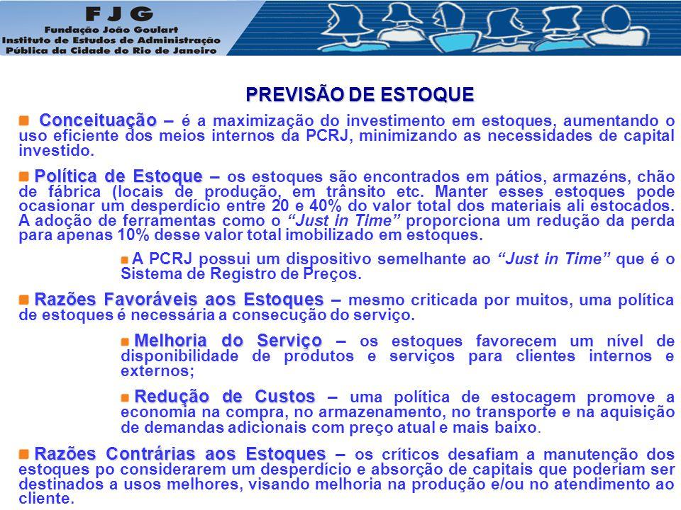 PREVISÃO DE ESTOQUE