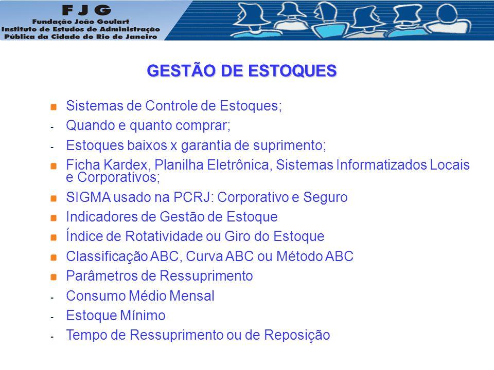 GESTÃO DE ESTOQUES Sistemas de Controle de Estoques;