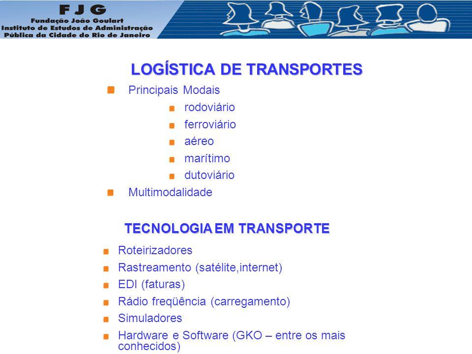 LOGÍSTICA DE TRANSPORTES TECNOLOGIA EM TRANSPORTE