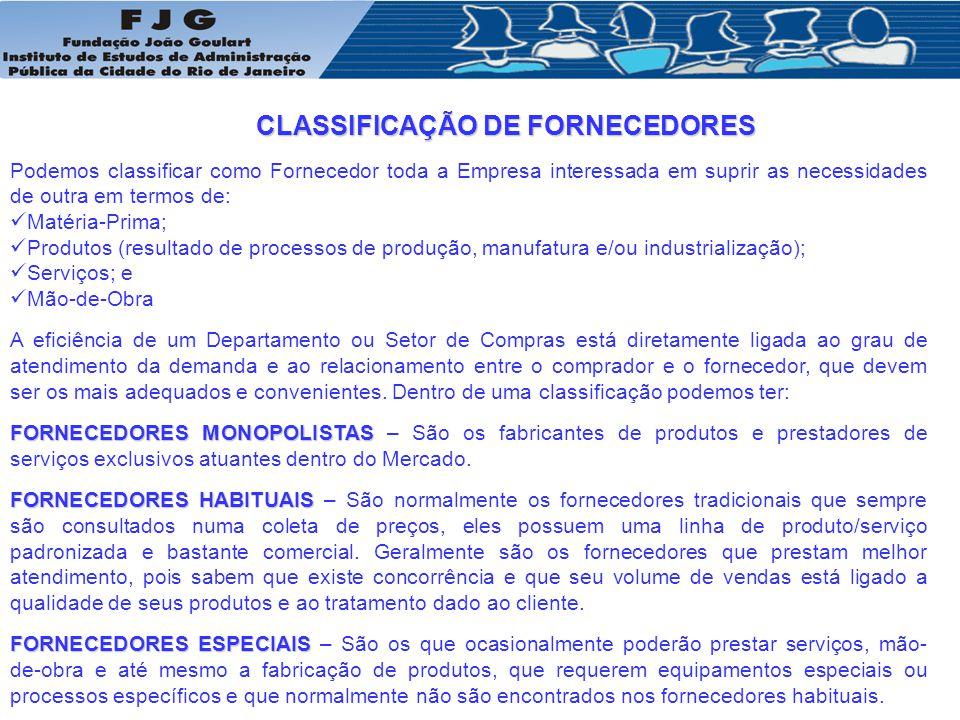 CLASSIFICAÇÃO DE FORNECEDORES