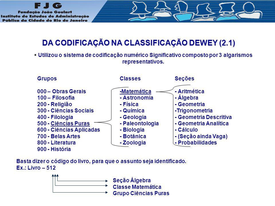 DA CODIFICAÇÃO NA CLASSIFICAÇÃO DEWEY (2.1)