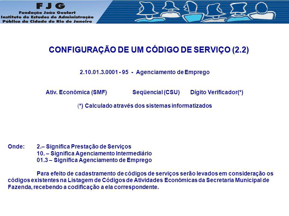 CONFIGURAÇÃO DE UM CÓDIGO DE SERVIÇO (2.2)