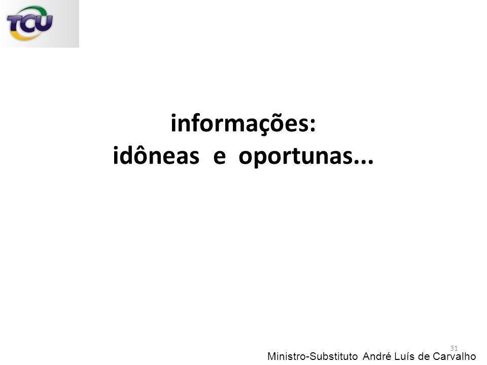 informações: idôneas e oportunas...